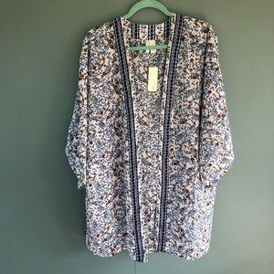 Japna Blue Floral Kimono OSFM NWT